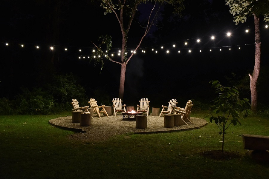 Cincinnati OH backyard Bistro lighting