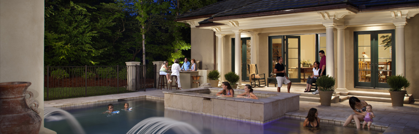 Landscape and pool lighting at a Dayton, OH home.