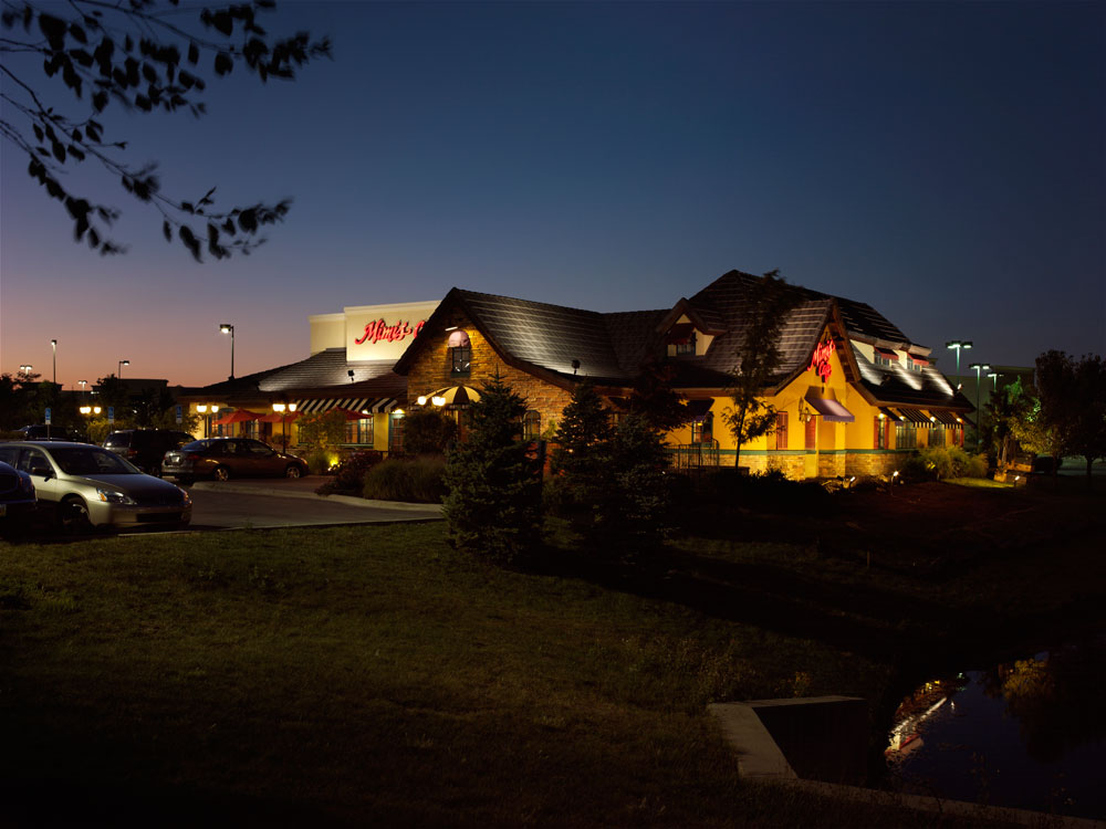 Commercial outdoor landscape lighting in the Greater Dayton, OH location.