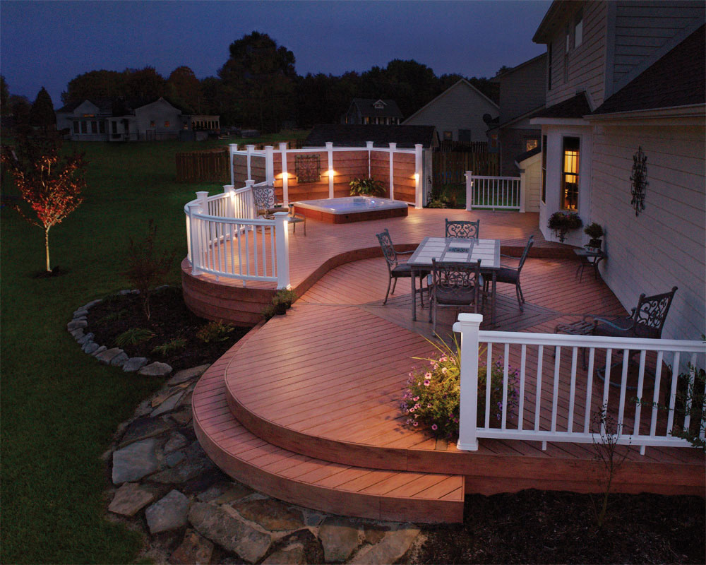 Backyard outdoor deck lighting for a Cincinnati, OH family.