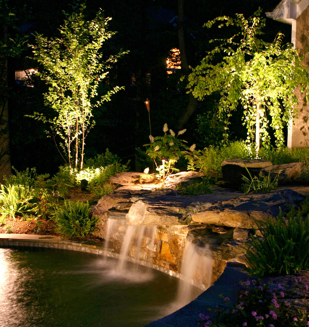 Outdoor waterfall lighting and pond lighting in Dayton, OH.