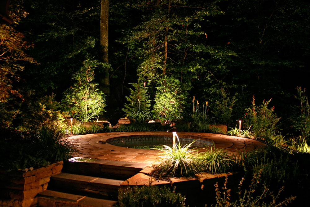 Patio lighting, walkway lighting, garden lighting, and landscape lighting for a Dayton, OH residence.