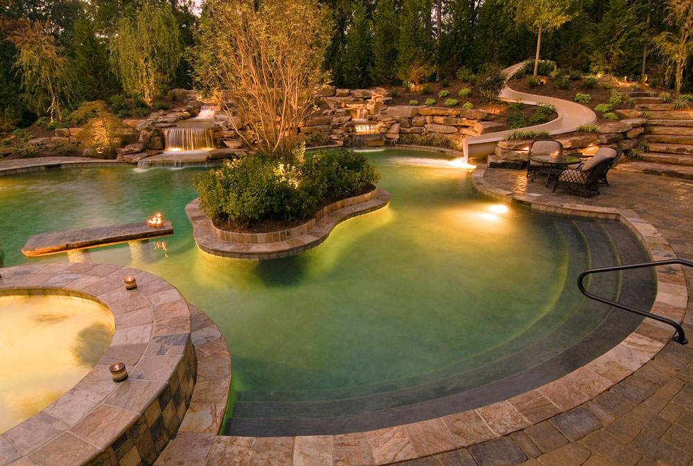 Pool lighting and outdoor living space in Cincinnati, OH.